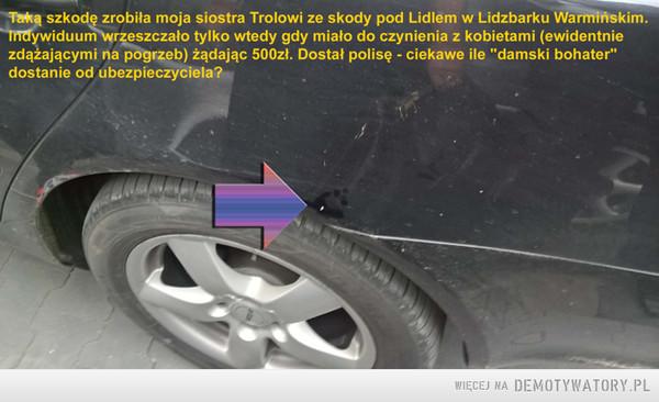 Wielka szkoda Trola ze skody – Taką szkodę zrobiła moja siostra Trolowi ze skody pod Lidlem w Lidzbarku Warmińskim.