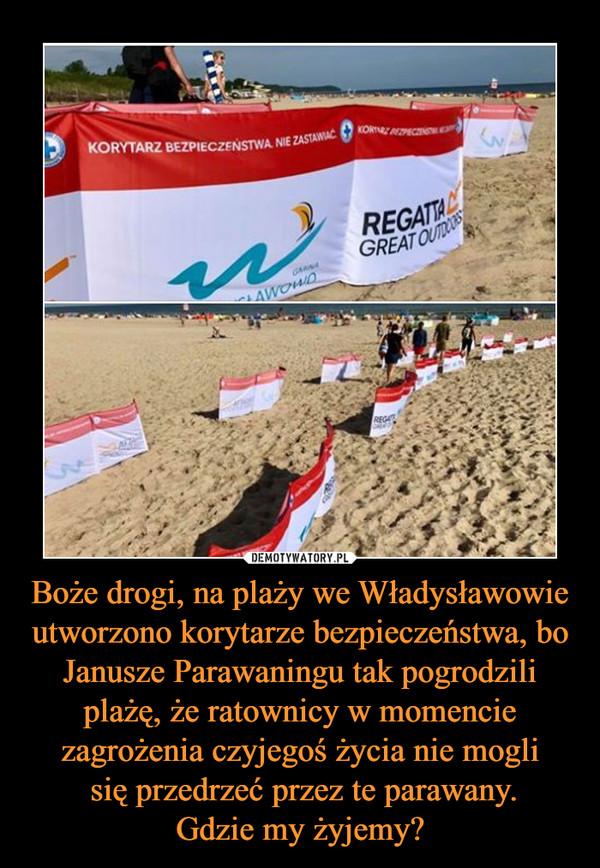 Boże drogi, na plaży we Władysławowie utworzono korytarze bezpieczeństwa, bo Janusze Parawaningu tak pogrodzili plażę, że ratownicy w momencie zagrożenia czyjegoś życia nie mogli się przedrzeć przez te parawany.Gdzie my żyjemy? –
