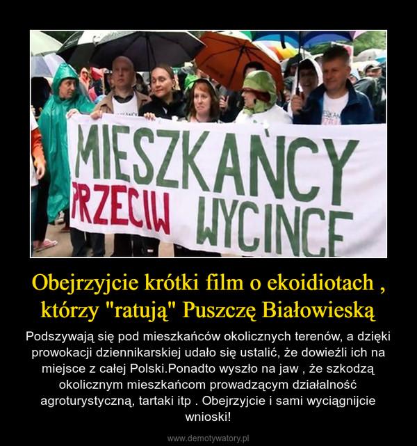 """Obejrzyjcie krótki film o ekoidiotach , którzy """"ratują"""" Puszczę Białowieską – Podszywają się pod mieszkańców okolicznych terenów, a dzięki prowokacji dziennikarskiej udało się ustalić, że dowieźli ich na miejsce z całej Polski.Ponadto wyszło na jaw , że szkodzą okolicznym mieszkańcom prowadzącym działalność agroturystyczną, tartaki itp . Obejrzyjcie i sami wyciągnijcie wnioski!"""