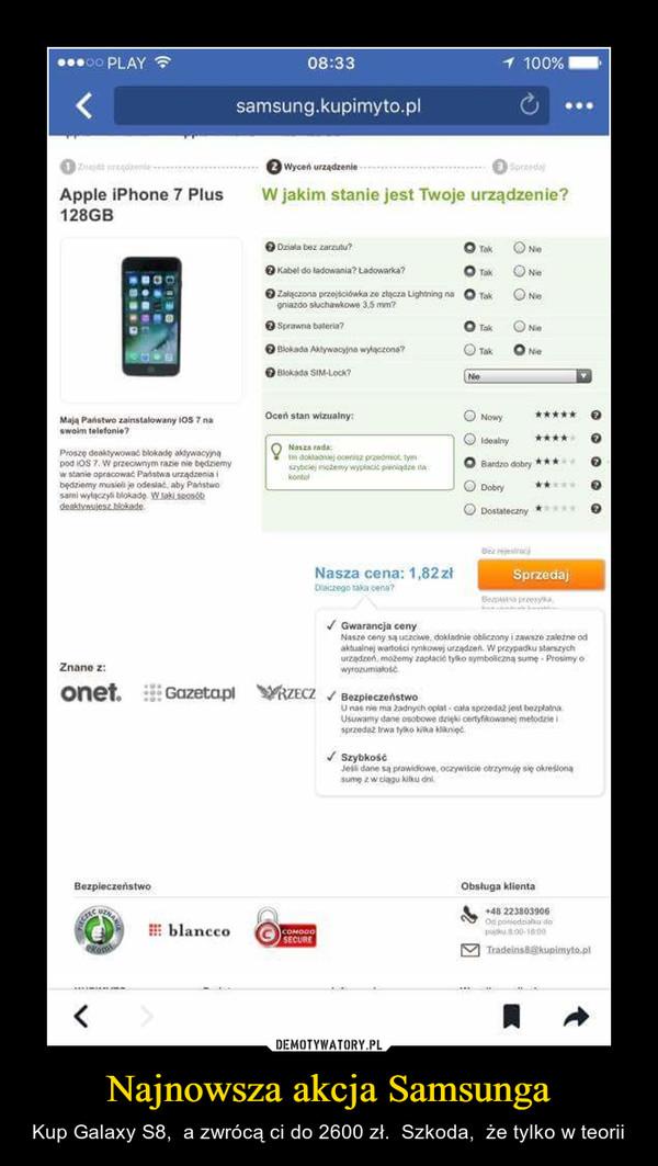 Najnowsza akcja Samsunga – Kup Galaxy S8,  a zwrócą ci do 2600 zł.  Szkoda,  że tylko w teorii