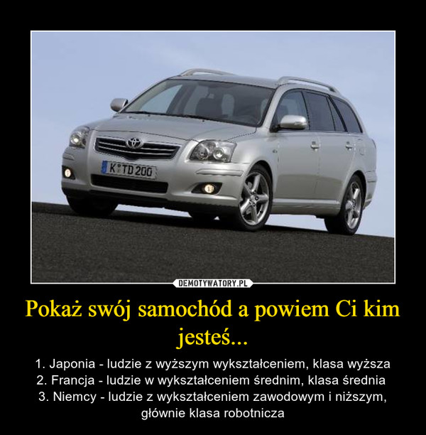 Pokaż swój samochód a powiem Ci kim jesteś... – 1. Japonia - ludzie z wyższym wykształceniem, klasa wyższa2. Francja - ludzie w wykształceniem średnim, klasa średnia 3. Niemcy - ludzie z wykształceniem zawodowym i niższym, głównie klasa robotnicza