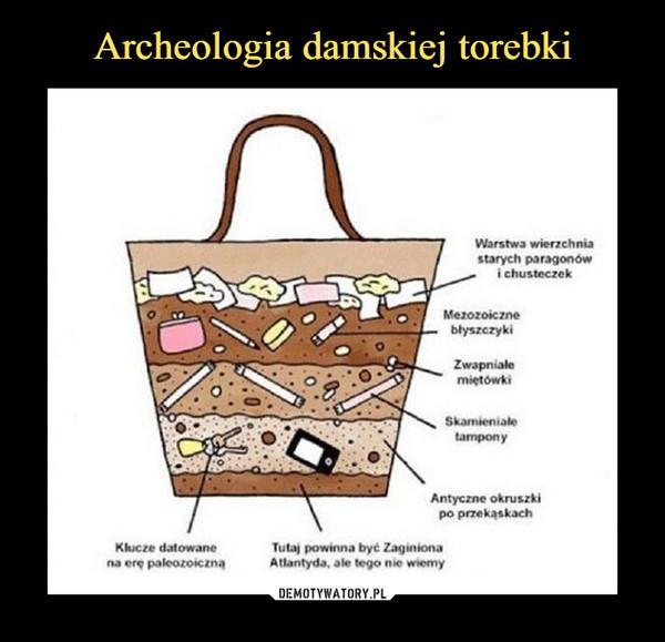 –  Warstwa wierzchnia starych paragonów i chusteczek Klucze datowane na erę paleozoicznąMezozoiczne błyszczykiZwapniałe miętówkiSkamieniałe tamponyAntyczne okruszki po przekąskach Tutaj powinna być Zaginiona Atlantyda, ale tego nie wiemy