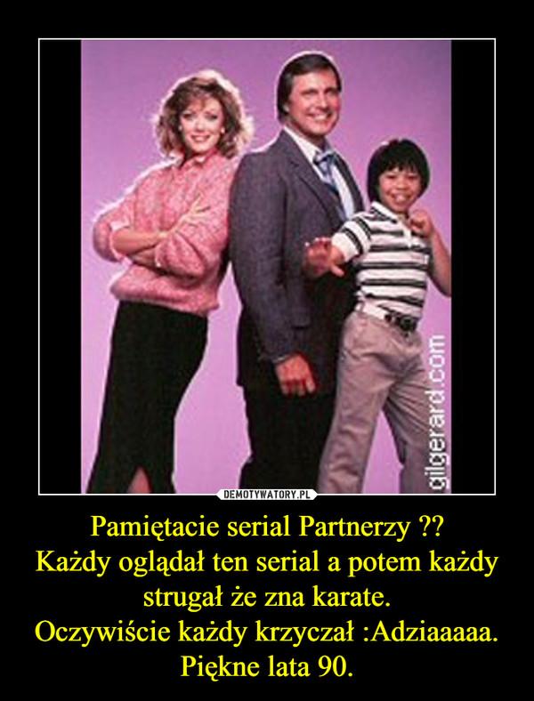 Pamiętacie serial Partnerzy ??Każdy oglądał ten serial a potem każdy strugał że zna karate.Oczywiście każdy krzyczał :Adziaaaaa.Piękne lata 90. –