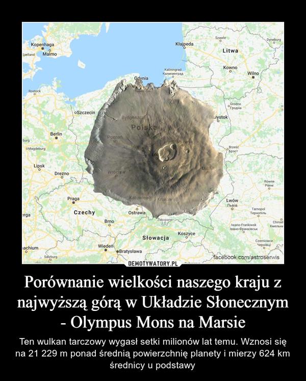 Porównanie wielkości naszego kraju z najwyższą górą w Układzie Słonecznym - Olympus Mons na Marsie – Ten wulkan tarczowy wygasł setki milionów lat temu. Wznosi się na 21 229 m ponad średnią powierzchnię planety i mierzy 624 km średnicy u podstawy