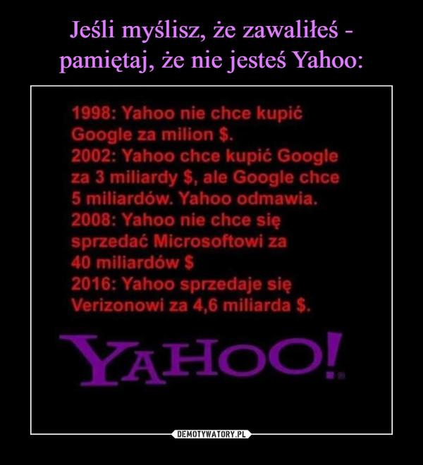 –  1998: Yahoo nie chce kupić Google za milion $. 2001 Yahoo chce kupić Google za 3 miliardy $, ale Google chce 5 miliardów ° Yahoo odmawia. 2008:: Yahoo nie chce się sprzedać Microsoftowi za 40 miliardów $ 2016r: Yahoo sprzedaje się Verizonowi za 4,6 miliarda $