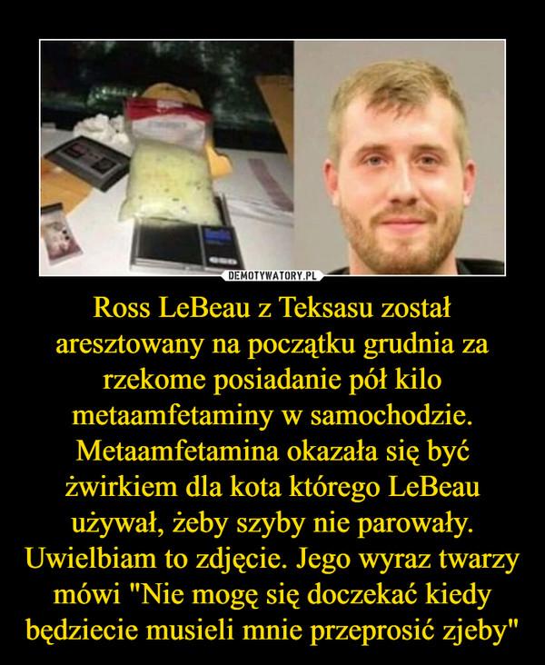 """Ross LeBeau z Teksasu został aresztowany na początku grudnia za rzekome posiadanie pół kilo metaamfetaminy w samochodzie. Metaamfetamina okazała się być żwirkiem dla kota którego LeBeau używał, żeby szyby nie parowały. Uwielbiam to zdjęcie. Jego wyraz twarzy mówi """"Nie mogę się doczekać kiedy będziecie musieli mnie przeprosić zjeby"""" –"""