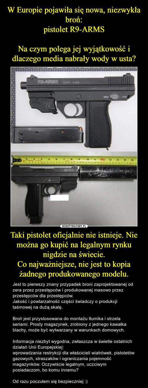 W Europie pojawiła się nowa, niezwykła broń: pistolet R9-ARMS  Na czym polega jej wyjątkowość i dlaczego media nabrały wody w usta? Taki pistolet oficjalnie nie istnieje. Nie można go kupić na legalnym rynku nigdzie na świecie. Co najważniejsze, nie jest to kopia żadnego produkowanego modelu.