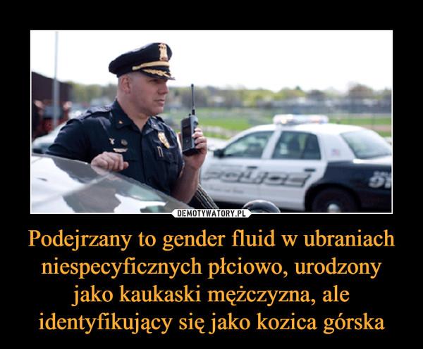 Podejrzany to gender fluid w ubraniach niespecyficznych płciowo, urodzony jako kaukaski mężczyzna, ale identyfikujący się jako kozica górska –