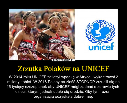 Zrzutka Polaków na UNICEF