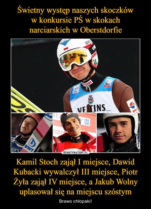 Kamil Stoch zajął I miejsce, Dawid Kubacki wywalczył III miejsce, Piotr Żyła zajął IV miejsce, a Jakub Wolny uplasował się na miejscu szóstym – Brawo chłopaki!