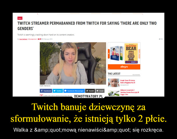 """Twitch banuje dziewczynę za sformułowanie, że istnieją tylko 2 płcie. – Walka z """"mową nienawiści"""" się rozkręca."""
