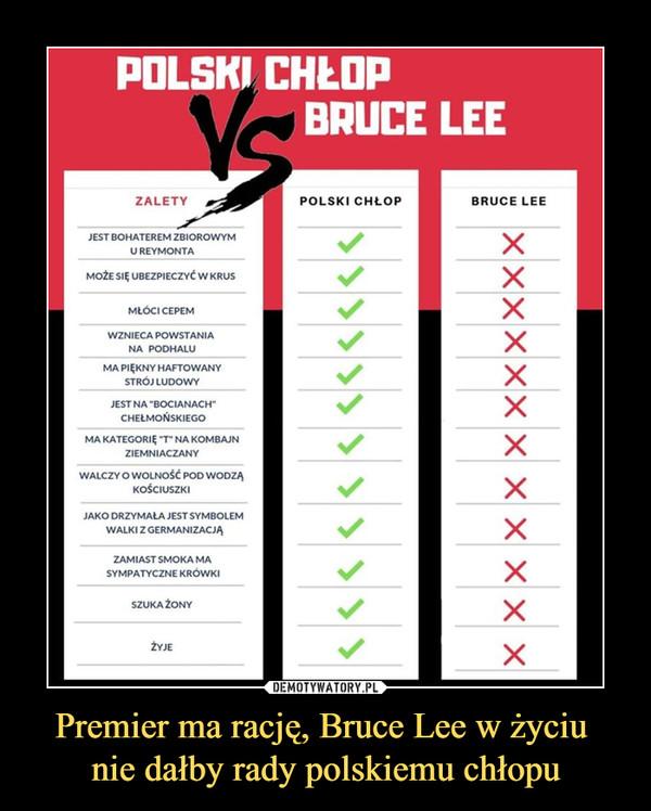 Premier ma rację, Bruce Lee w życiu nie dałby rady polskiemu chłopu –