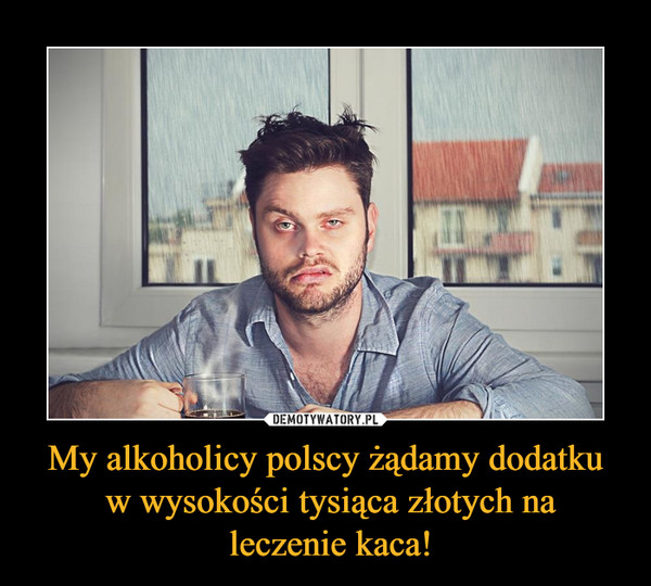 My alkoholicy polscy żądamy dodatku w wysokości tysiąca złotych na leczenie kaca! –
