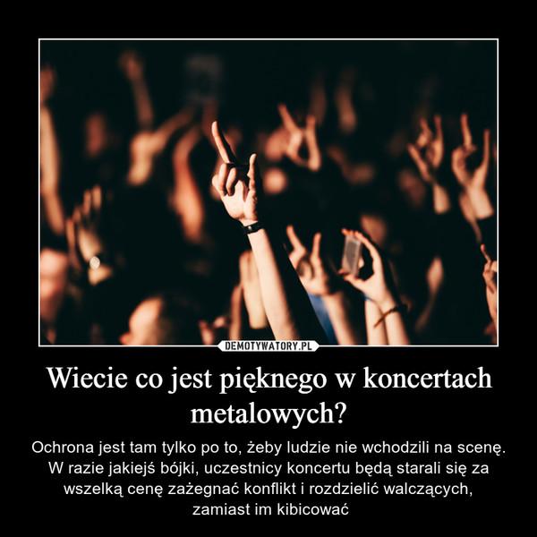 Wiecie co jest pięknego w koncertach metalowych? – Ochrona jest tam tylko po to, żeby ludzie nie wchodzili na scenę. W razie jakiejś bójki, uczestnicy koncertu będą starali się za wszelką cenę zażegnać konflikt i rozdzielić walczących, zamiast im kibicować