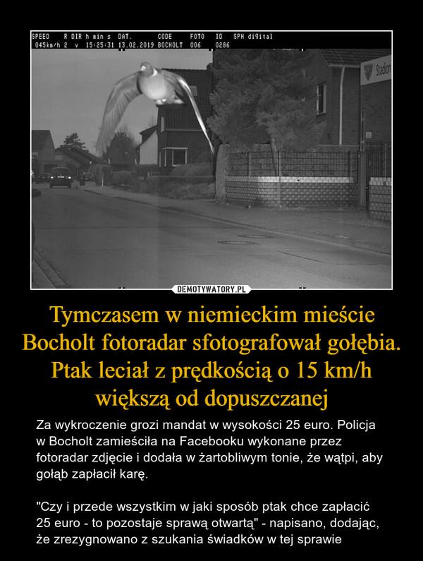 """Tymczasem w niemieckim mieście Bocholt fotoradar sfotografował gołębia. Ptak leciał z prędkością o 15 km/h większą od dopuszczanej – Za wykroczenie grozi mandat w wysokości 25 euro. Policja w Bocholt zamieściła na Facebooku wykonane przez fotoradar zdjęcie i dodała w żartobliwym tonie, że wątpi, aby gołąb zapłacił karę.""""Czy i przede wszystkim w jaki sposób ptak chce zapłacić 25 euro - to pozostaje sprawą otwartą"""" - napisano, dodając, że zrezygnowano z szukania świadków w tej sprawie"""