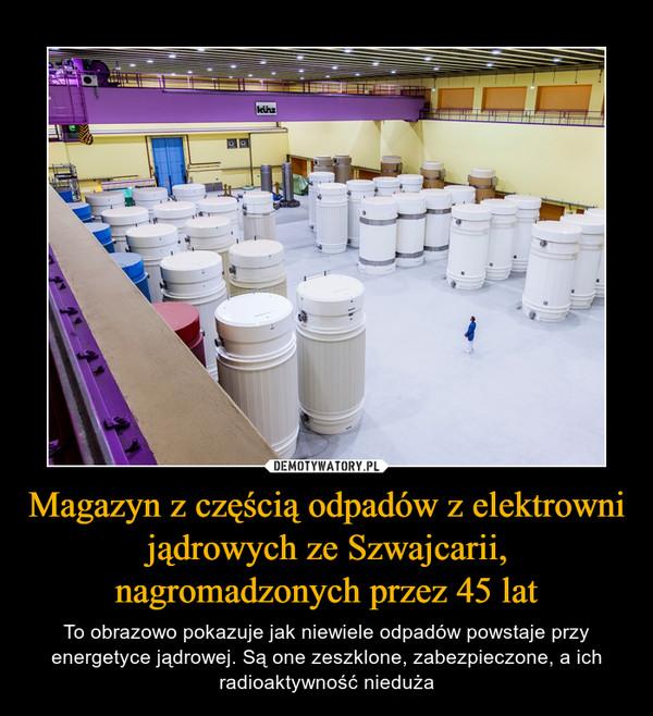 Magazyn z częścią odpadów z elektrowni jądrowych ze Szwajcarii, nagromadzonych przez 45 lat – To obrazowo pokazuje jak niewiele odpadów powstaje przy energetyce jądrowej. Są one zeszklone, zabezpieczone, a ich radioaktywność nieduża
