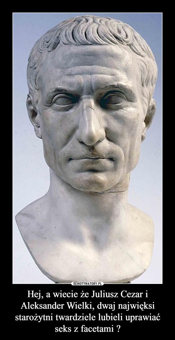 Hej, a wiecie że Juliusz Cezar i Aleksander Wielki, dwaj najwięksi starożytni twardziele lubieli uprawiać seks z facetami ? –