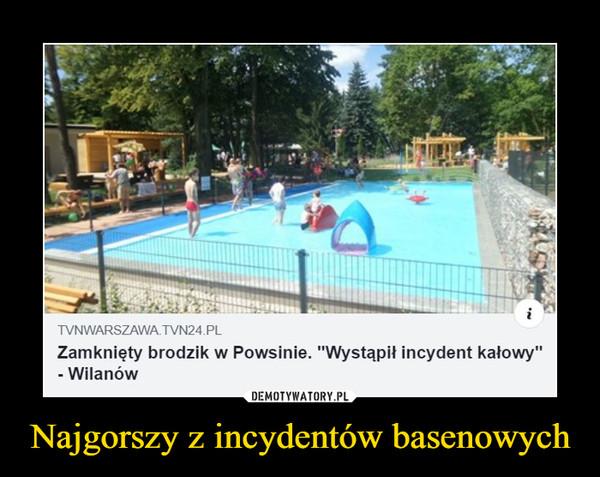"""Najgorszy z incydentów basenowych –  TVNWARSZAWA TVN24.PLZamknięty brodzik w Powsinie. """"Wystapił incydent kałowy""""-WilanówDEMOTYWATORY.PLNajgorszy z incydentów basenowych"""