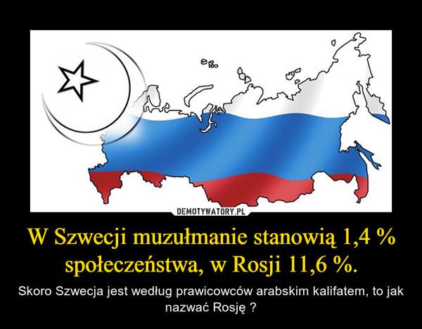 W Szwecji muzułmanie stanowią 1,4 % społeczeństwa, w Rosji 11,6 %. – Skoro Szwecja jest według prawicowców arabskim kalifatem, to jak nazwać Rosję ?