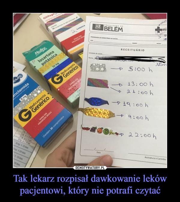 Tak lekarz rozpisał dawkowanie leków pacjentowi, który nie potrafi czytać –