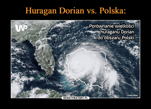 –  Porównanie wielkości huraganu Dorian do obszaru Polski