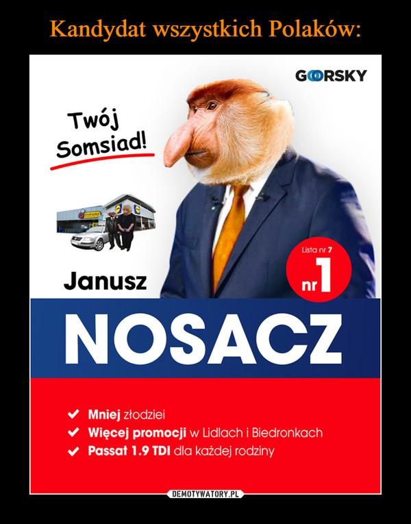 –  Twój somsiad Janusz Nosacz Lista nr 7 nr 1 Mniej złodziei Więcej promocji w Lidlach i Biedronkach Passat 1.9 TDI dla każdej rodziny