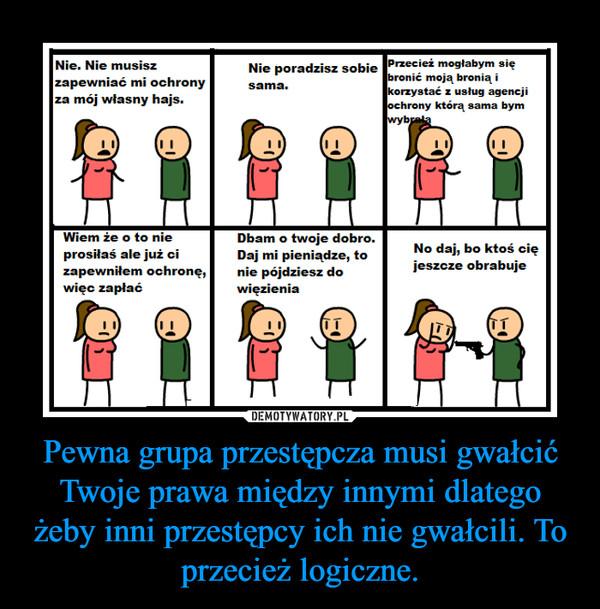Pewna grupa przestępcza musi gwałcić Twoje prawa między innymi dlatego żeby inni przestępcy ich nie gwałcili. To przecież logiczne. –