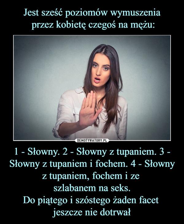 1 - Słowny. 2 - Słowny z tupaniem. 3 - Słowny z tupaniem i fochem. 4 - Słowny z tupaniem, fochem i ze szlabanem na seks.Do piątego i szóstego żaden facet jeszcze nie dotrwał –