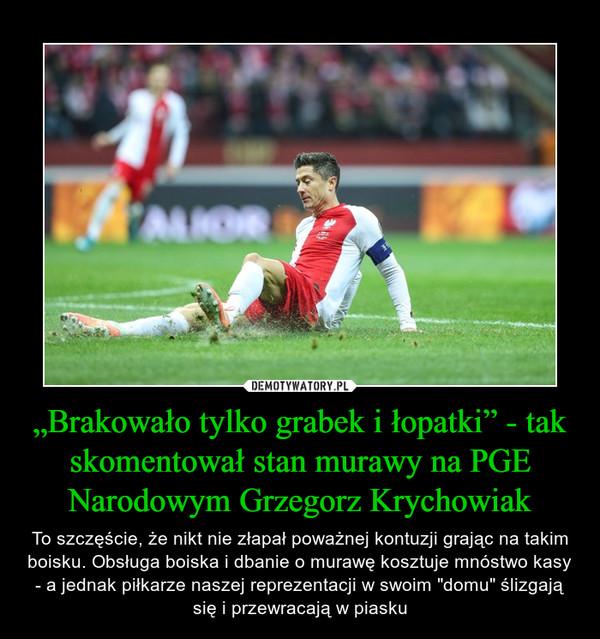 """""""Brakowało tylko grabek i łopatki"""" - tak skomentował stan murawy na PGE Narodowym Grzegorz Krychowiak – To szczęście, że nikt nie złapał poważnej kontuzji grając na takim boisku. Obsługa boiska i dbanie o murawę kosztuje mnóstwo kasy - a jednak piłkarze naszej reprezentacji w swoim """"domu"""" ślizgają się i przewracają w piasku"""