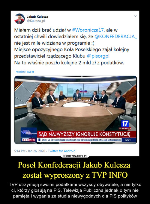 Poseł Konfederacji Jakub Kulesza  został wyproszony z TVP INFO