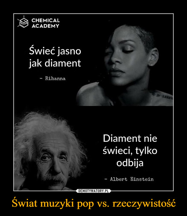 Świat muzyki pop vs. rzeczywistość –  CHEMICALACADEMYŚwieć jasnojak diament- RihannaDiament nieświeci, tylkoodbijaAlbert Einstein