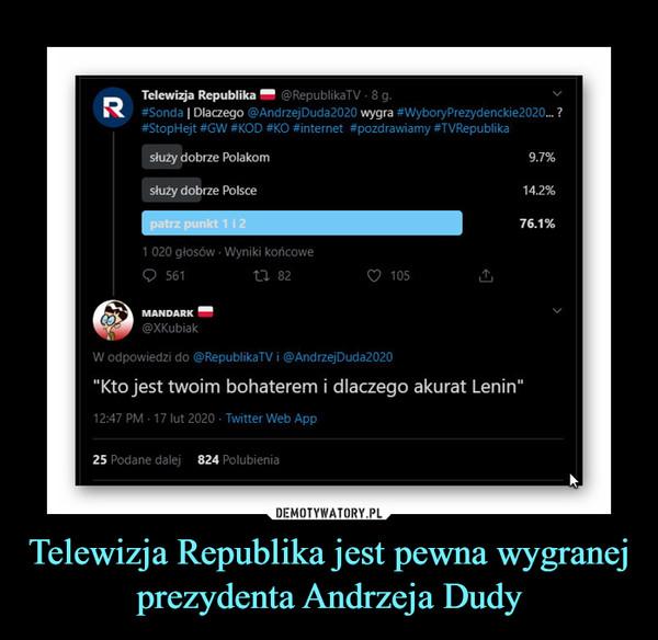 Telewizja Republika jest pewna wygranej prezydenta Andrzeja Dudy –