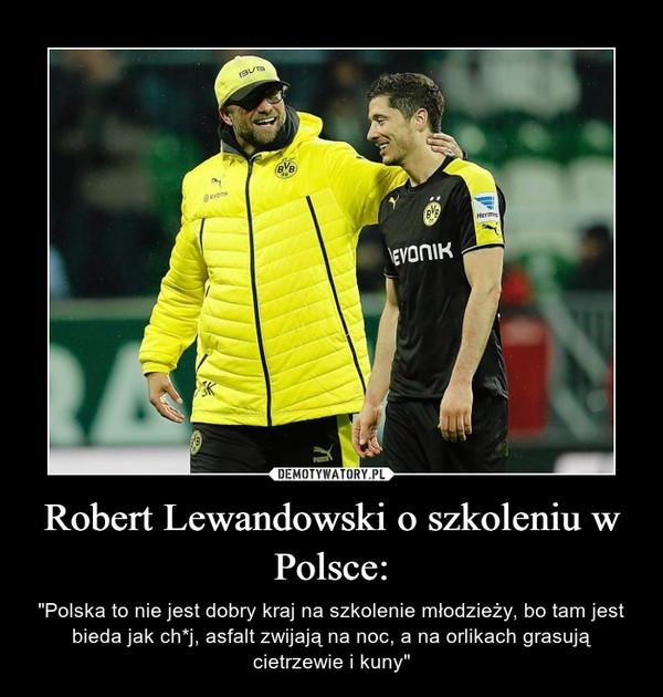 """Robert Lewandowski o szkoleniu w Polsce: – """"Polska to nie jest dobry kraj na szkolenie młodzieży, bo tam jest bieda jak ch*j, asfalt zwijają na noc, a na orlikach grasują cietrzewie i kuny"""""""