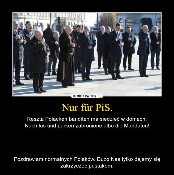 Nur für PiS. – Reszta Polacken banditen ma siedzieć w domach.Nach las und parken zabronione albo die Mandaten!...Pozdrawiam normalnych Polaków. Dużo Nas tylko dajemy się zakrzyczeć pustakom.