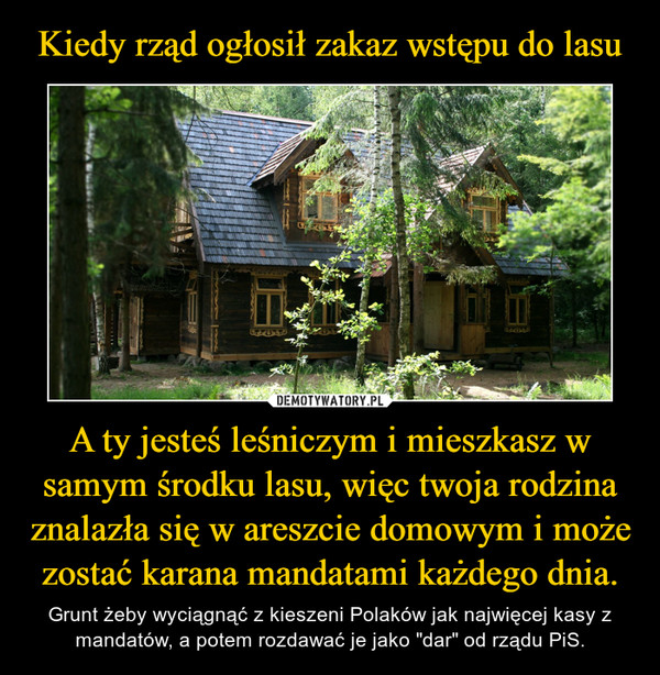 """A ty jesteś leśniczym i mieszkasz w samym środku lasu, więc twoja rodzina znalazła się w areszcie domowym i może zostać karana mandatami każdego dnia. – Grunt żeby wyciągnąć z kieszeni Polaków jak najwięcej kasy z mandatów, a potem rozdawać je jako """"dar"""" od rządu PiS."""