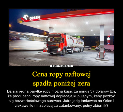 Cena ropy naftowej spadła poniżej zera
