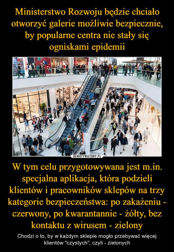 """W tym celu przygotowywana jest m.in. specjalna aplikacja, która podzieli klientów i pracowników sklepów na trzy kategorie bezpieczeństwa: po zakażeniu - czerwony, po kwarantannie - żółty, bez kontaktu z wirusem - zielony – Chodzi o to, by w każdym sklepie mogło przebywać więcej klientów """"czystych"""", czyli - zielonych"""