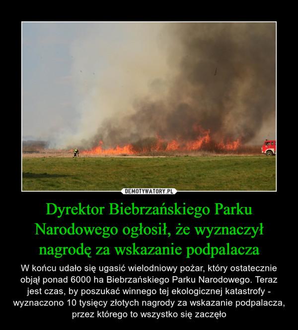 Dyrektor Biebrzańskiego Parku Narodowego ogłosił, że wyznaczył nagrodę za wskazanie podpalacza – W końcu udało się ugasić wielodniowy pożar, który ostatecznie objął ponad 6000 ha Biebrzańskiego Parku Narodowego. Teraz jest czas, by poszukać winnego tej ekologicznej katastrofy - wyznaczono 10 tysięcy złotych nagrody za wskazanie podpalacza, przez którego to wszystko się zaczęło
