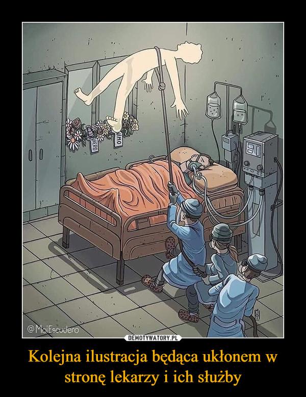 Kolejna ilustracja będąca ukłonem w stronę lekarzy i ich służby –