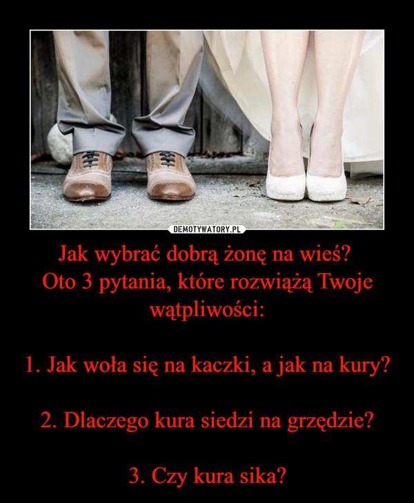 Jak wybrać dobrą żonę na wieś? Oto 3 pytania, które rozwiążą Twoje wątpliwości:1. Jak woła się na kaczki, a jak na kury?2. Dlaczego kura siedzi na grzędzie?3. Czy kura sika? –