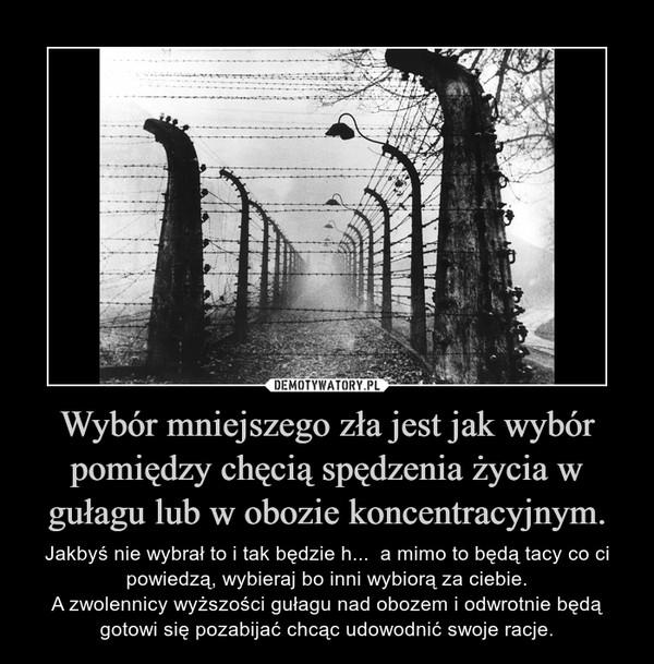 Wybór mniejszego zła jest jak wybór pomiędzy chęcią spędzenia życia w gułagu lub w obozie koncentracyjnym. – Jakbyś nie wybrał to i tak będzie h...  a mimo to będą tacy co ci powiedzą, wybieraj bo inni wybiorą za ciebie.A zwolennicy wyższości gułagu nad obozem i odwrotnie będą gotowi się pozabijać chcąc udowodnić swoje racje.