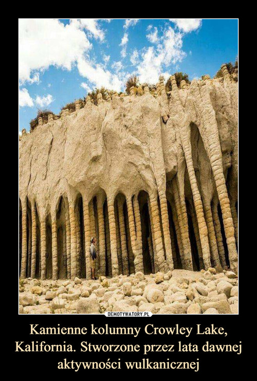 Kamienne kolumny Crowley Lake, Kalifornia. Stworzone przez lata dawnej aktywności wulkanicznej