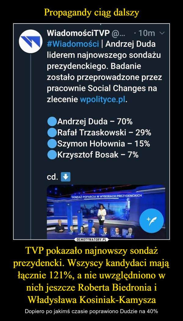 TVP pokazało najnowszy sondaż prezydencki. Wszyscy kandydaci mają łącznie 121%, a nie uwzględniono w nich jeszcze Roberta Biedronia i Władysława Kosiniak-Kamysza – Dopiero po jakimś czasie poprawiono Dudzie na 40% WiadomościTVP • 10m #Wiadomości Andrzej Duda liderem najnowszego sondażu prezydenckiego. Badanie zostało przeprowadzone przez pracownie Social Changes na zlecenie wpolityce.pl. *Andrzej Duda - 70% *Rafał Trzaskowski - 29% *Szymon Hołownia - 15% *Krzysztof Bosak - 7%