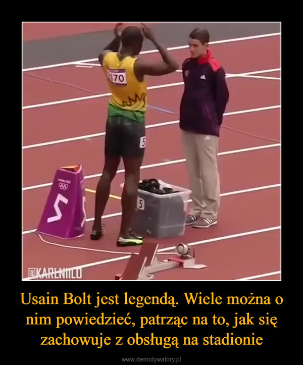 Usain Bolt jest legendą. Wiele można o nim powiedzieć, patrząc na to, jak się zachowuje z obsługą na stadionie –
