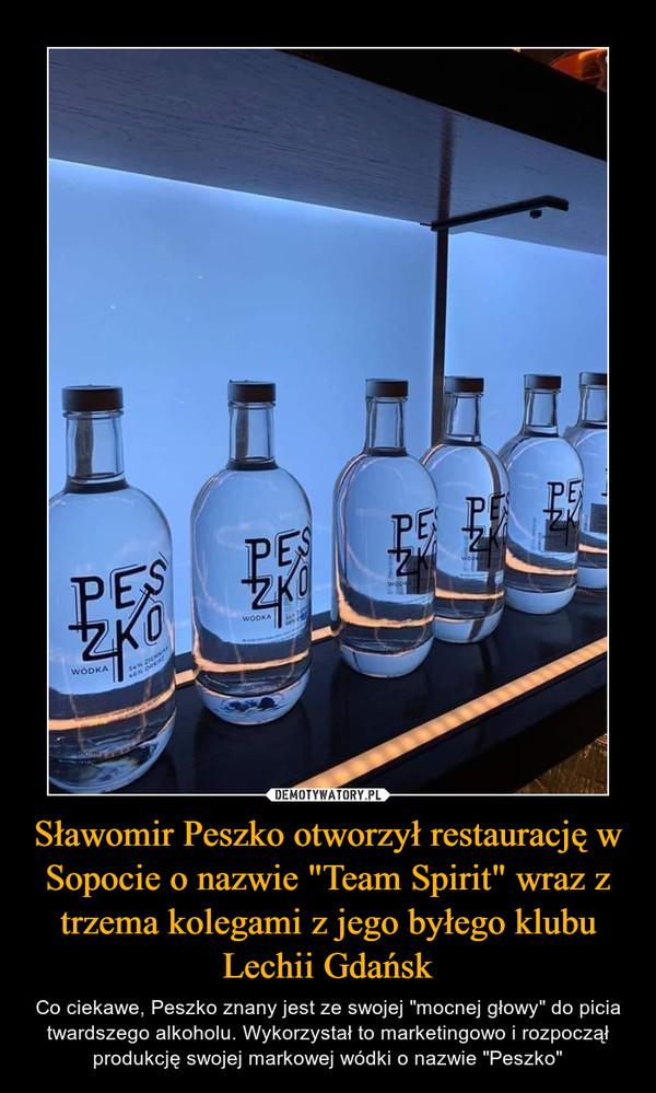 """Sławomir Peszko otworzył restaurację w Sopocie o nazwie """"Team Spirit"""" wraz z trzema kolegami z jego byłego klubu Lechii Gdańsk – Co ciekawe, Peszko znany jest ze swojej """"mocnej głowy"""" do picia twardszego alkoholu. Wykorzystał to marketingowo i rozpoczął produkcję swojej markowej wódki o nazwie """"Peszko"""""""