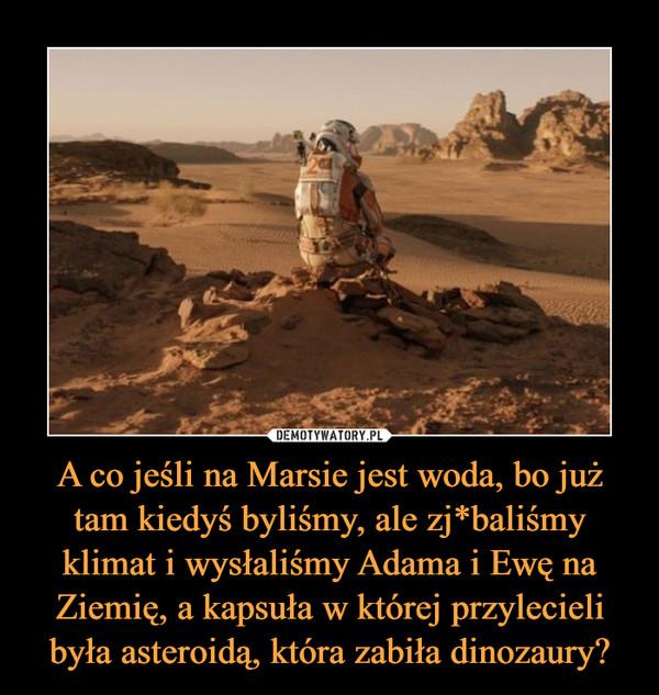 A co jeśli na Marsie jest woda, bo już tam kiedyś byliśmy, ale zj*baliśmy klimat i wysłaliśmy Adama i Ewę na Ziemię, a kapsuła w której przylecieli była asteroidą, która zabiła dinozaury? –