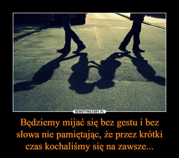 Będziemy mijać się bez gestu i bez słowa nie pamiętając, że przez krótki czas kochaliśmy się na zawsze... –