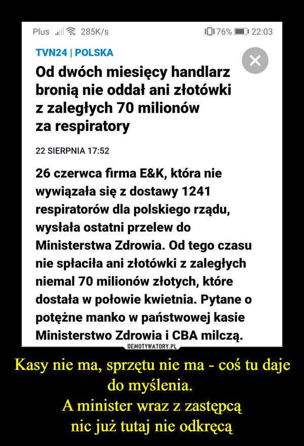 Kasy nie ma, sprzętu nie ma - coś tu daje do myślenia. A minister wraz z zastępcąnic już tutaj nie odkręcą –  Plus ull285K/s0176%  22:03TVN24   POLSKAOd dwóch miesięcy handlarzbronią nie oddał ani złotówkiz zaległych 70 milionówza respiratory22 SIERPNIA 17:52fREKLAMA26 czerwca firma E&K, która niewywiązała się z dostawy 1241respiratorów dla polskiego rządu,wysłała ostatni przelew doMinisterstwa Zdrowia. Od tego czasunie spłaciła ani złotówki z zaległychniemal 70 milionów złotych, któredostała w połowie kwietnia. Pytane opotężne manko w państwowej kasieMinisterstwo Zdrowia i CBA milczą.