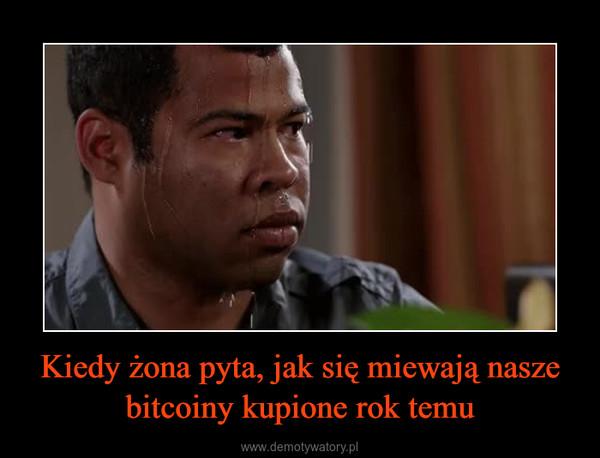 Kiedy żona pyta, jak się miewają nasze bitcoiny kupione rok temu –