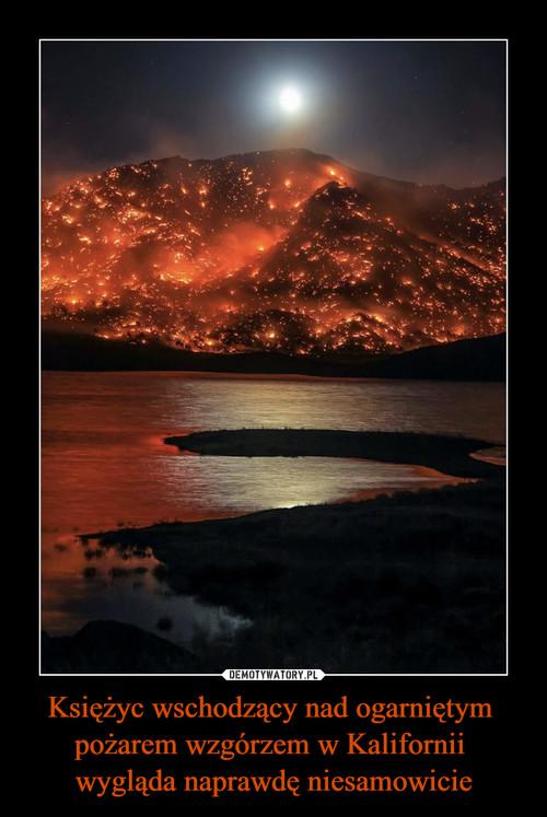 Księżyc wschodzący nad ogarniętym  pożarem wzgórzem w Kalifornii  wygląda naprawdę niesamowicie